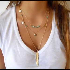 3 Layer Feather Necklace - Gold or Silver